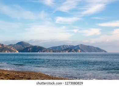 West Turkish coast at Sarigerme village in sunny winter day with calm Mediterranean Sea and blue sky