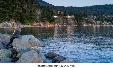 West Vancouver, British Columbia - Canada. Coast line houses along the water.