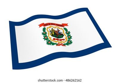 West Virginia flag isolated on white white background from world flags set. 3D illustration.