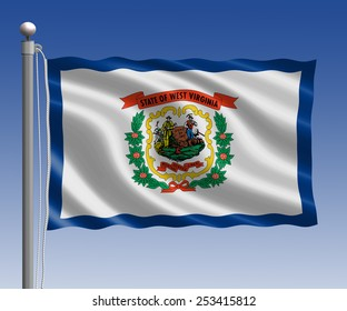 West Virginia flag in pole on blue sky background