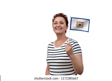 West Virginia flag. Woman holding West Virginia state flag. Nice portrait of middle aged lady 40 50 years old with a state flag isolated on white background.