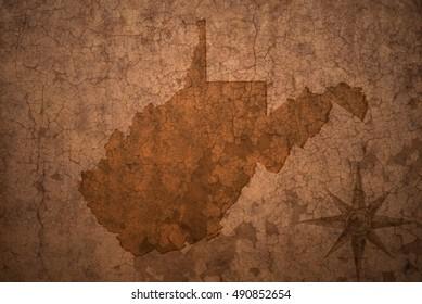 west virginia state map on a old vintage crack paper background