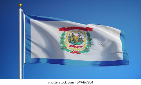 West Virginia (U.S. state) flag waving against clear blue sky, close up, isolated with clipping path mask alpha channel transparency, perfect for film, news, composition