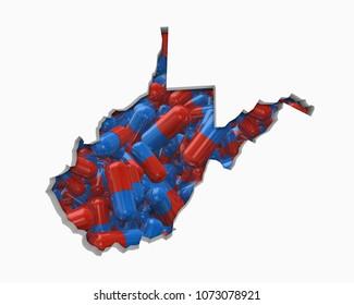 West Virginia WV Pills Drugs Health Care Insurance Map 3d Illustration