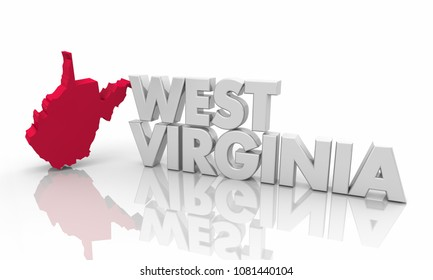 West Virginia WV Red State Map Word 3d Illustration