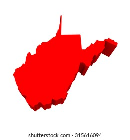 West Virginia WV Red USA 3d State Map