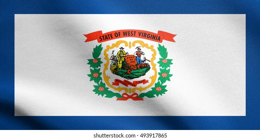 West Virginian official flag, symbol. American patriotic element. USA banner. United States of America background. Flag of the US state of West Virginia waving in the wind with detailed fabric texture