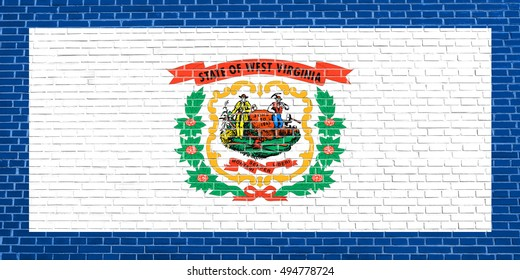 West Virginian official flag, symbol. American patriotic element. USA banner. United States of America background. Flag of the US state of West Virginia on brick wall texture background, 3d rendering