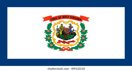West Virginian official flag, symbol. American patriotic element. USA banner. United States of America background. Flag of the US state of West Virginia in correct size and colors, illustration