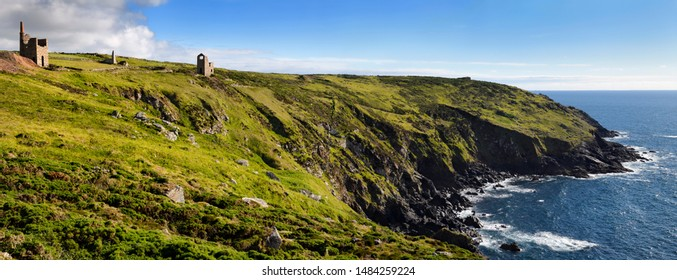 West Wheal Owles Cargodna Mine tine mine at Botallack with seaside cliffs on the Celtic Sea Botallack, Cornwall, England - June 12, 2019