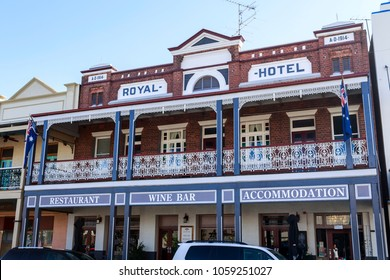 WEST WYALONG, AUSTRALIA – March 13, 2018:  View of the iconic Royal Hotel, an outback pub built in 1914