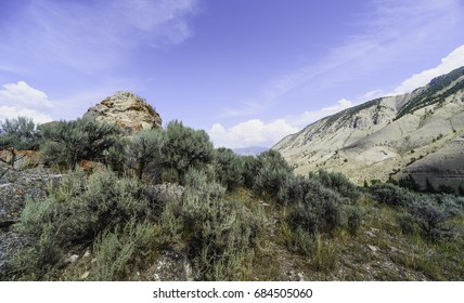 West Wyoming, Wyoming, USA. Rugged landscape of the prairie with sagebrush, rocks, and arid land in the heart of the prairie near West Wyoming, Wyoming, USA.