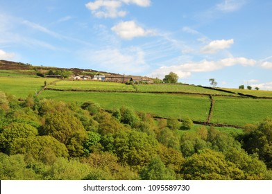 west yorkshire dales scenery with farmhouses perched on high hills with typical walled fields and midgley moor in the distance with blue sunlit summer sky