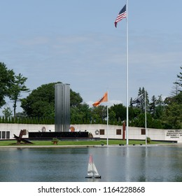 Westbury, NY - August 21, 2018: The 9/11 Memorial is along Salisbury Lake in Eisenhower Park. (Square aspect)