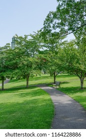 Westbury, NY - August 21, 2018: There are benches and plenty of shade trees to relax and enjoy the beauty and serenity of Eisenhower Park.