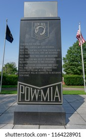 Westbury, NY - August 21, 2018: The front side of a monument to the memory of POW-MIAs  at Veterans Plaza in Eisenhower Park has a prayer.
