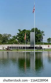 Westbury, NY - August 21, 2018: The 9/11 Memorial is along Salisbury Lake in Eisenhower Park. (vertical aspect)