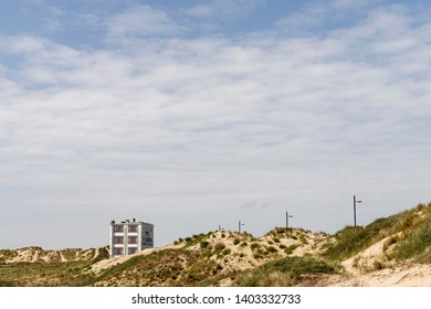 Westende, Belgium - May 11, 2019: The quaint little hotel St Laureins in the dunes by the coast