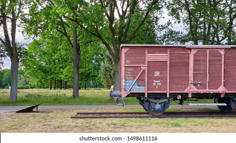 Westerbork, the Netherlands - July 2, 2019: Train at Westerbork camp used for the deportation of the prisoners to concentration camps like Auschwitz and Sobibor.