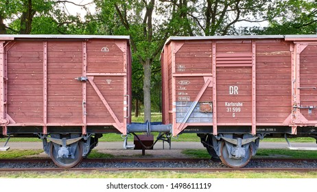 Westerbork, the Netherlands - July 2, 2019: Frontal view, Train at Westerbork camp used for the deportation of the prisoners to concentration camps like Auschwitz and Sobibor.