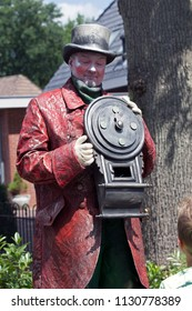 Westerbork, Netherlands- July 8, 2018: Street performer clocksman during the Championships living statues in Westerbork, the Netherlands