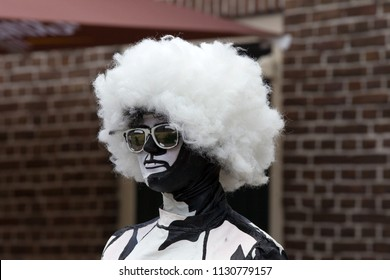 Westerbork, Netherlands- July 8, 2018: Street artist representing Black White during the Championships living statues in Westerbork, the Netherlands
