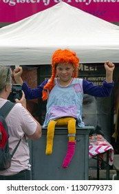 Westerbork, Netherlands- July 8, 2018: Street performers representing Pippi Longstocking during the Championships living statues in Westerbork, the Netherlands