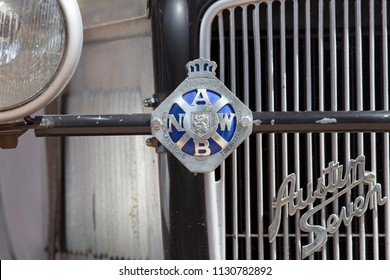 Westerbork, Netherlands- July 8, 2018: Logo of the ANWB on an old car during the Championships living statues in Westerbork, the Netherlands