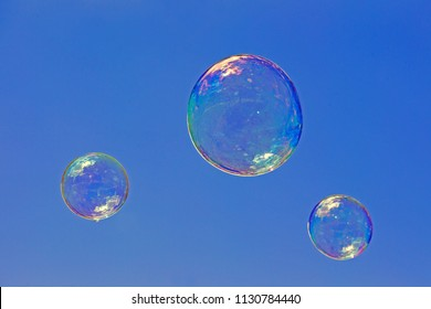 Westerbork, Netherlands- July 8, 2018: soap bubbles from a street artist who is blowing during the Championships living statues in Westerbork, the Netherlands