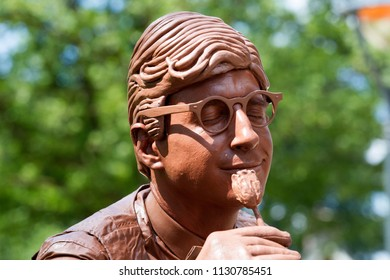 Westerbork, Netherlands- July 8, 2018: street artist representing a chocolate man during the Championships living statues in Westerbork, the Netherlands