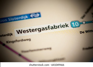 Westergasfabriek Station. Amsterdam Metro map.