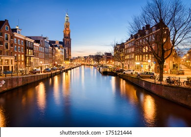 The Westerkerk church in Amsterdam, Netherlands at night