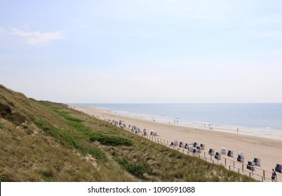 Westerland beach seen from the stairs over the dunes on a sunny day