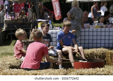 Westerland Netherlands June 18 2017 Farmer fair boys are grilling food