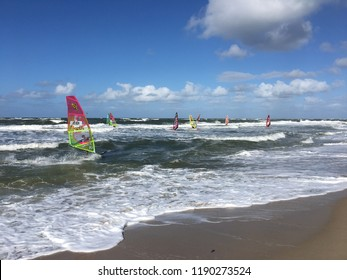 Westerland, Sylt, Germany - September 28, 2018: Windsurf World Cup in beautiful weather.