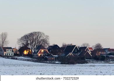 Westerland village in Netherlands in snowy winter