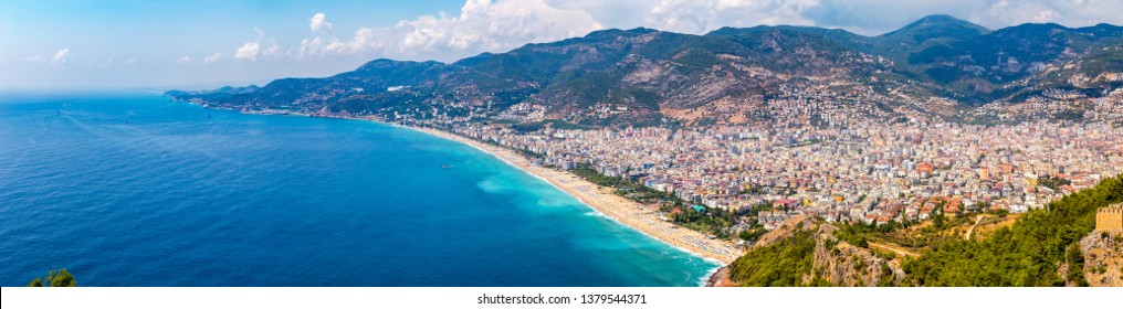 Western Alanya, Turkey panorama in high resolution observed from a Fortress of Alanya, Antalya province.