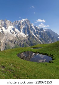 Western Alps, Italian Alps, French Alps, view to the Mont Blanc massif from the italian side