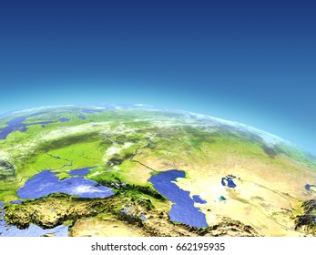Western Asia from Earth's orbit in space. 3D illustration with detailed planet surface. Elements of this image furnished by NASA.