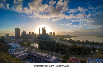 Western Australia - Golden Sunrise View of Perth Skyline from Swan River