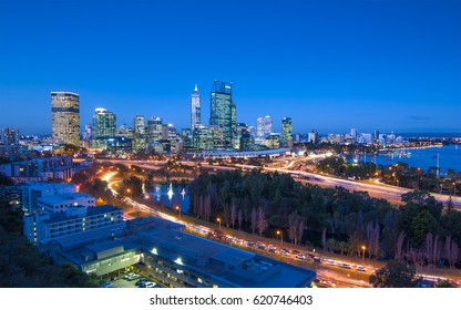 Western Australia - Night View of Perth Skyline from Kings Park