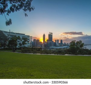 Western Australia - Sunrise View with Rays of Light  Perth Skyline from Kings Park