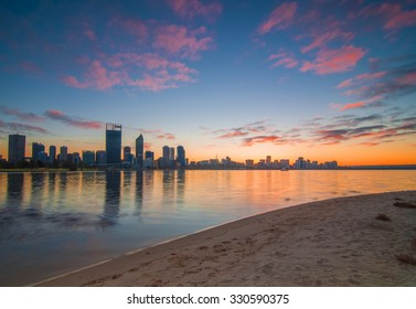 Western Australia - Vibrant Colors Sunrise View of Perth Skyline from Swan River