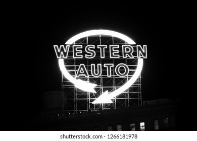 The Western Auto sign on a black and white filter. -Processed With Darkroom
