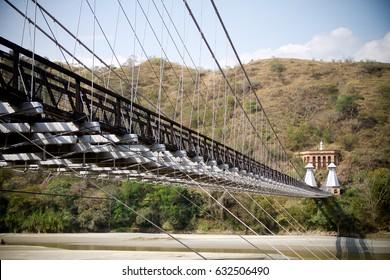 Western Bridge (Puente de Occidente). Santafé de Antioquia landmark, Colombia. Suspention bridge. January 2014.