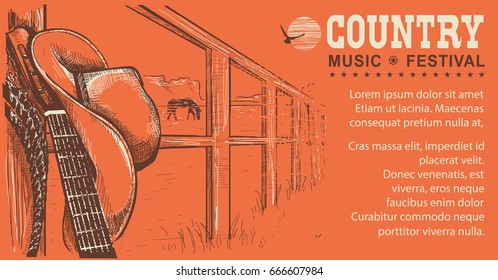Western country music illustration with cowboy hat and music guitar.Raster