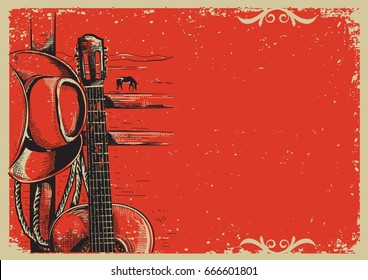 Western country music poster with american cowboy hat and guitar on vintage paper background.Raster