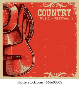 Western country music poster with american cowboy hat and guitar on vintage card background.Raster