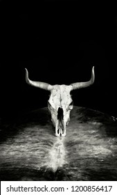 Western cow skull on leather hide with room for your type in black and white.