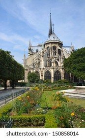 The Western End of Notre Dame Cathedral and Gardens, Paris France.